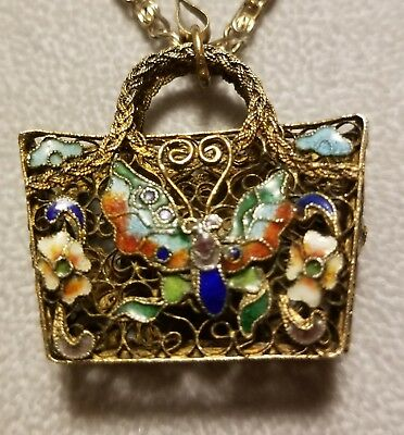 Antique China Export Silver Filigree Enamel Butterfly Cloisonne Basket Necklace