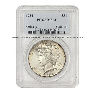 1934 $1 Peace PCGS MS64 graded Philadelphia uncirculated Silver Dollar coin