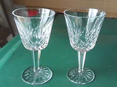 """# 1 2 lot WATERFORD CRYSTAL LISMORE 5 7/8"""" CLARET WINE GLASSES"""