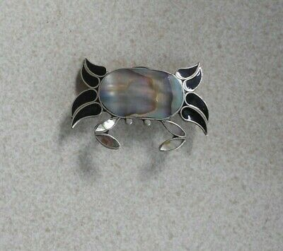 Beautiful Vintage *ALPACA MEXICO* Abalone CRAB Brooch Mother Of Pearl