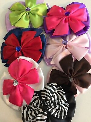 Lot Of 7 Hair Bows Alligator Clip Satin Ribbon For Girl Baby Kids Rhinestones