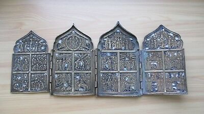 Icona Russa,Antique Russian Orthodox travel bronze icon from 19c.