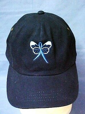 Blue Awareness Baseball Hat Ribbon Butterfly Navy Cap Colon Cancer Child Abuse