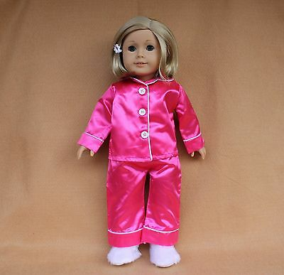 Doll PJs fitting 18 inch American Girl Dolls Bright Pink Satin Pajama & Slippers