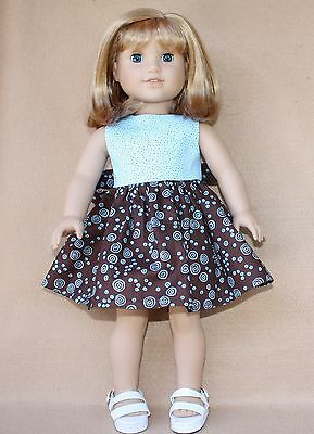 Doll Clothes fitting 18 in American Girl Dolls Brown & Teal Cotton Dres, Sandals