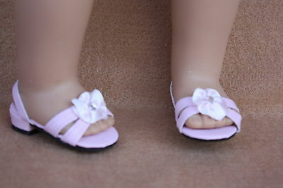 Doll Shoes fitting 18 in American Girl Dolls Pink Jeweled Sandals w Rhinestone