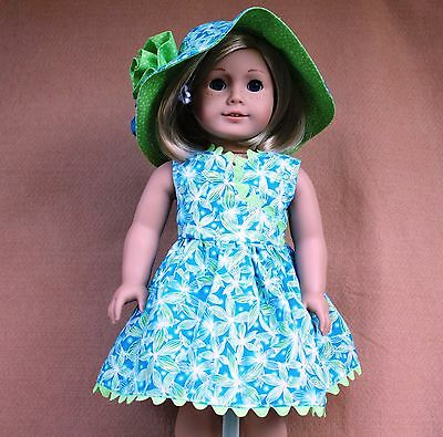 Doll Clothes fitting 18 in American Girl Doll Teal & Lime Dress Hat Panties NEW