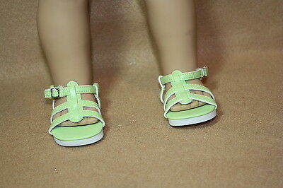 Doll Shoes fitting 18 in & American Dolls Lime Green Strappy Sandals NEW!