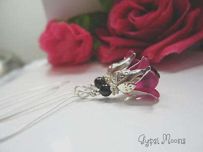 Rose Earrings long HOT PINK BLACK detail Victorian style silver plated dangle
