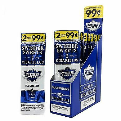 SWISHER SWEETS BLUEBERRY FLAVOR BOX OF 15 PK TOTAL 30 Pcs
