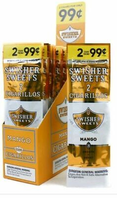 1 BOXES SWISHER SWEETS MANGO 2 In A Pouch 15 Pouches Total 30 Pcs