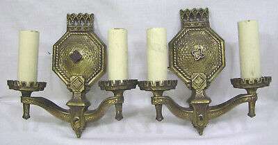 Vintage PAIR 1930s Art Deco Electric Wall Sconces Gothic Style Rewired NICE!!