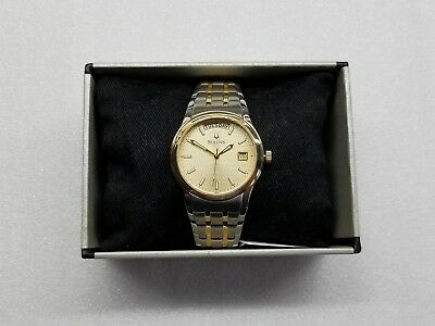 Bulova Champagne Dial Day & Date Two-Tone Stainless Steel Men's Watch 98C60 New