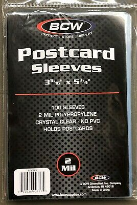 1 PACK  (100 Count Pack) BCW  Postcard Standard Size Sleeves  Archival Acid Free