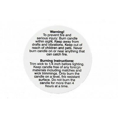 3cm Candle Warning labels
