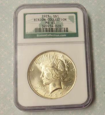 1923 NGC MS 65 Peace Silver Dollar, Binion Collection Gem MS65 Coin, Green Label