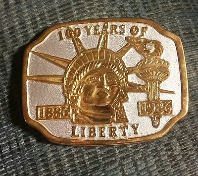 Vintage 1984 Statue of Liberty Belt Buckle Gold and Silver Tone 100 Years