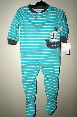 CARTER/'S Boys/' Pirate Ship Applique Turquoise Footed Pajamas Size 18 Months NWT