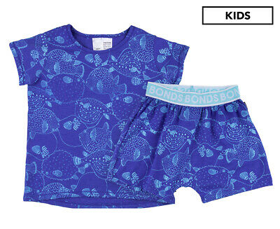 Bonds Kids' Sleep Short Set - Pufferfish Party Blue Grotto