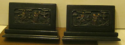Antique PAIR of HEAVY Hand Carved Wooden Bookends with Hand Painted Features!!!!