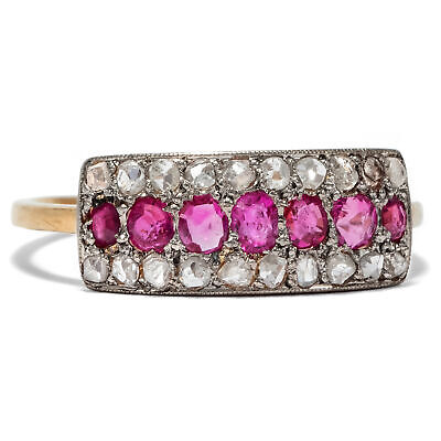 antiker Rubin & Diamant Ring in 750 18ct Gold & Platin, um 1910 / Brillanten
