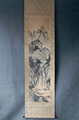 chinese scroll river mountain scene