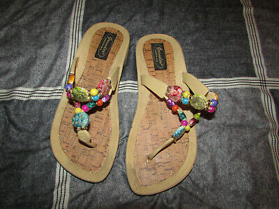 51bbcada1 GRANDCO Dressy Beach Pool Thong Color Beads Sandals Flip Flops Size 7