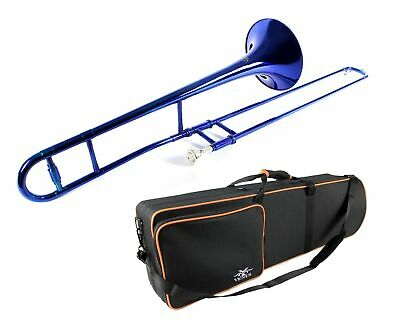 Band TROMBONE  Bb  SOLID BRASS  BLUE  Finish + Free Case  New