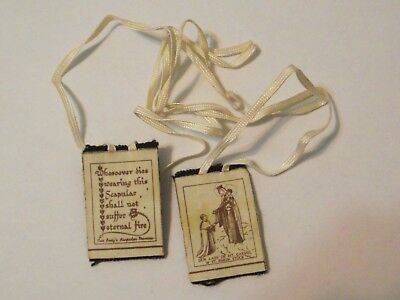 Brown cloth medal scapular promise Our Lady of Mt Carmel with St Simon Stock