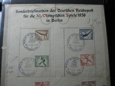 THIRD REICH 1936 Summer Olympics stamp set on commemorative sheet!