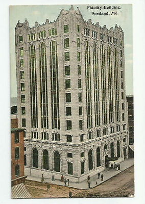 Fidelity Building Portland Maine Postcard 1913 Vintage Woodfords Crossing Cancel