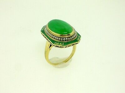 Antique French Enameled Gold Ring With Natural Untreated Jade Stone - Fantastic!