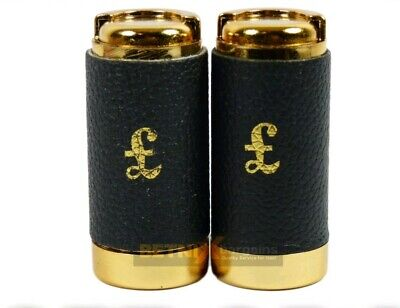 Set of 2 One Pound £1 Coin Holder  Holds Up to 15 Coins Gold & Black Leather