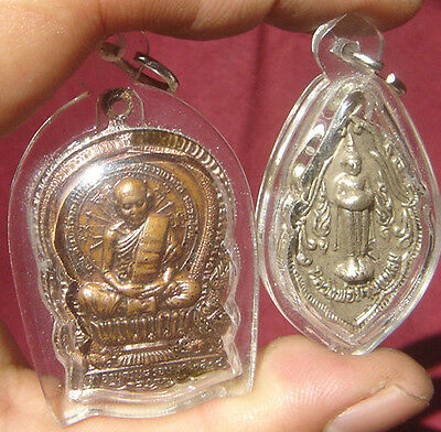 2Style Locket tablet Bronze Monk&Lord Buddha Amulet Thai
