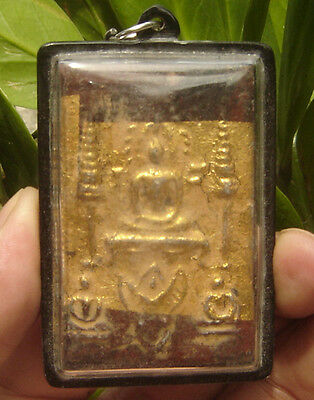 Huge Locket Gild Gold Fired Clay Pra Somdaj Wat Rakang Thai Saint& famous Monk