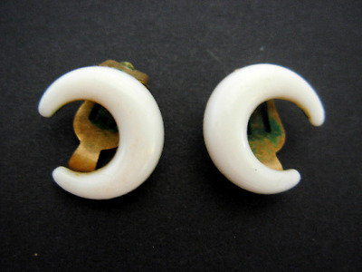 VINTAGE 1950s / 1960s White Half Moon Clip on Earrings Bakelite or Early Plastic
