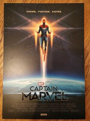 CAPTAIN MARVEL Poster A4 Higher Further Faster, Official Odeon Cinema Movie Film
