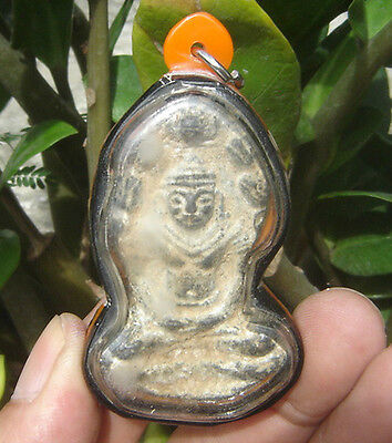 Locket statue bronze  Naga serpent's coils protective cowl over Buddha's head