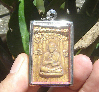 "Pendant fired clay famous monk""Bo-Three"" Pra Somdaj Wat Rakang Thai Saint"