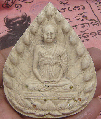 """Huge tablet tiny Relic Ruby fired clay famous monk""""Pra Somdaj""""Amulet Thai"""
