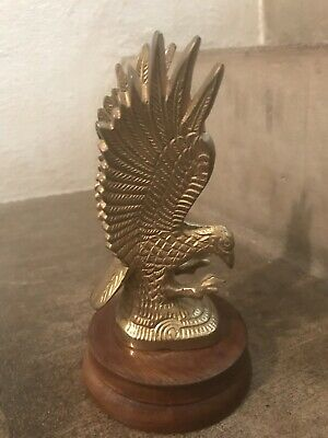 Vintage Heavy Brass Eagle on Wood Base Statue Figure Paper Weight