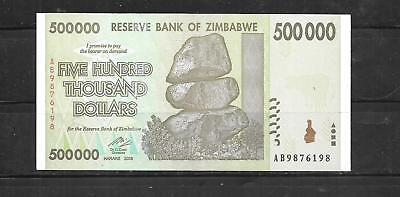 ZIMBABWE #76a UNC MINT 2008 500000 DOLLAR BANKNOTE PAPER MONEY CURRENCY NOTE