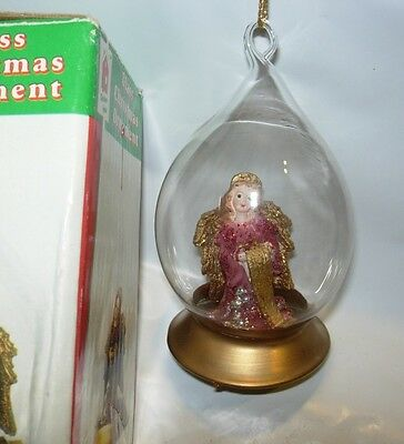 CHRISTMAS TREE ORNAMENT glass teardrop angel red gold glitter religious holiday