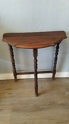 Vintage Half-Moon Wooden Side or Wall Accent Table