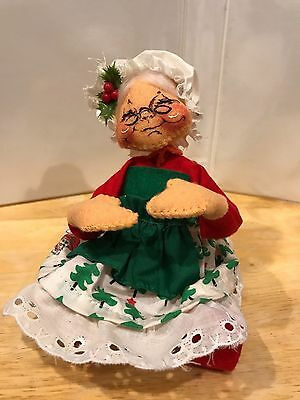 "1963 '87 ANNALEE DOLLS Mrs Claus w/ Christmas Tree Dress 8"" Closed Eyes & Mouth"