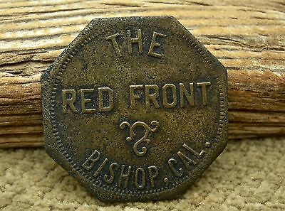 "ca 1900 BISHOP CALIFORNIA (INYO HWY 395 LONE PINE) ""THE RED FRONT"" LG OCT. TOKEN"