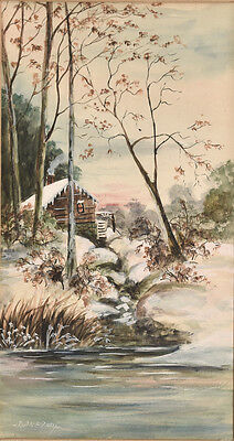 Early 20th C Watercolor Winter Mill Scene by Creek or River, Signed Ruth E. Zorn