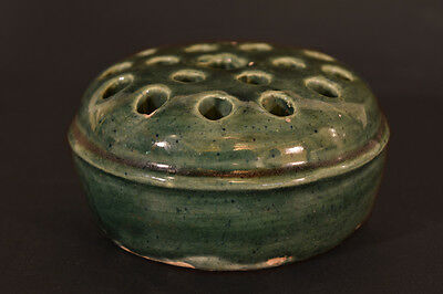 Vintage Arts & Crafts Style Green Glaze Ceramic Flower Frog, 18 Holes