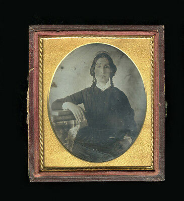 1840s Daguerreotype of Woman with Books and Hair Comb Portrait Photograph