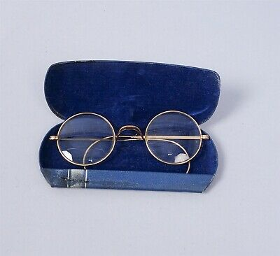 Vintage 1920s Gold GF Round Bifocal Spectacles Eyeglasses w Case